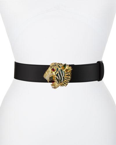 Tiger-Buckle Leather Belt
