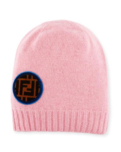 Circle-Logo Wool-Cashmere Knit Beanie Hat