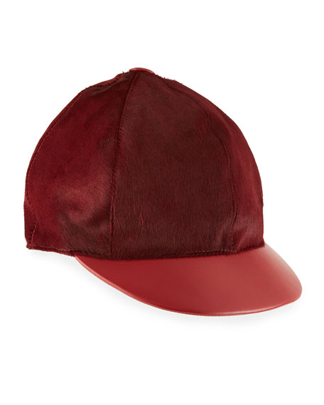 MARZI Calf Hair & Leather Baseball Hat in Red