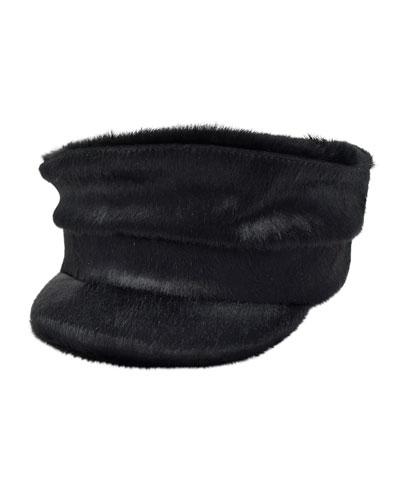 Georgie Cowhide Newsboy Hat