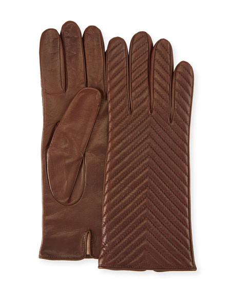 Quilted Napa Leather Gloves, Castagna