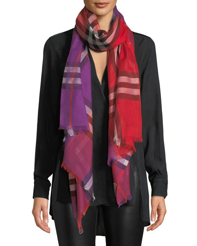 Colorblock Giant Check Gauze Scarf
