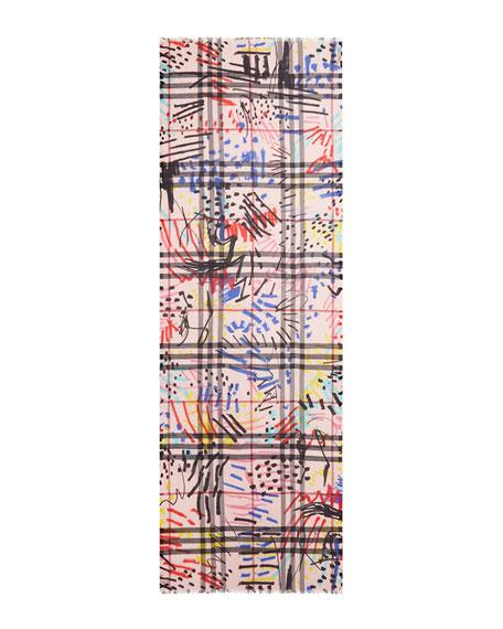 Graffiti-Print Giant Check Gauze Scarf