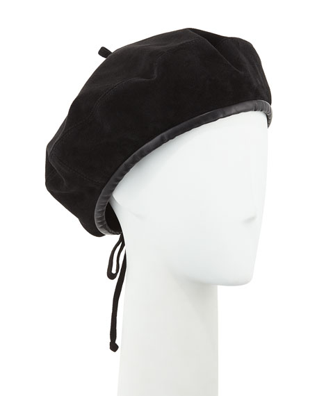 Kate Suede Adjustable Beret Hat, Black