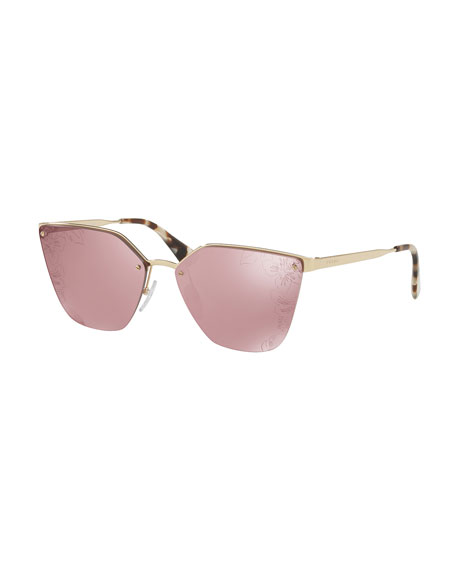Prada Squared Cat-Eye Sunglasses w/ Floral Lenses