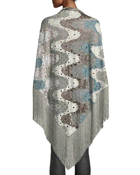 Flower Knit Shawl w/ Long Fringe