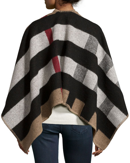 Mega Check Wool/Cashmere Cape