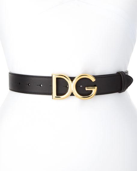 DOLCE & GABBANA Logo Buckle Leather Belt, Nero/ Oro