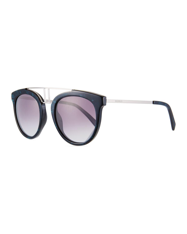 2be595a9209 Balmain Round Gradient Acetate   Metal Double-Bridge Sunglasses ...