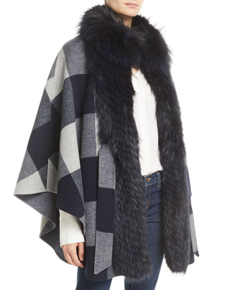 BELLE FARE Belted Check Cape W/ Fur Collar in Navy