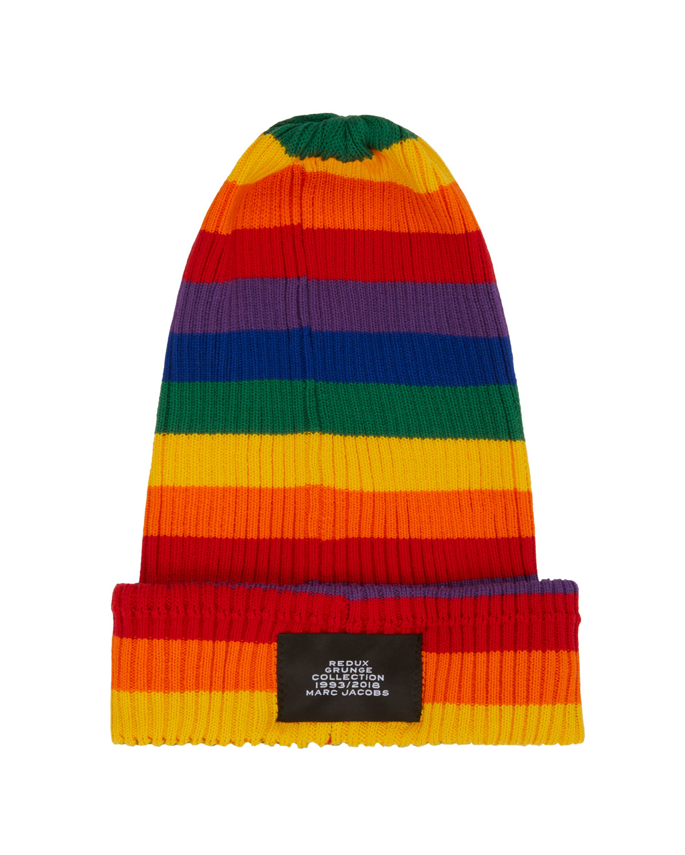 Marc Jacobs Grunge Redux Rainbow-Striped Rib-Knit Beanie Hat ... a2c96c8d12e