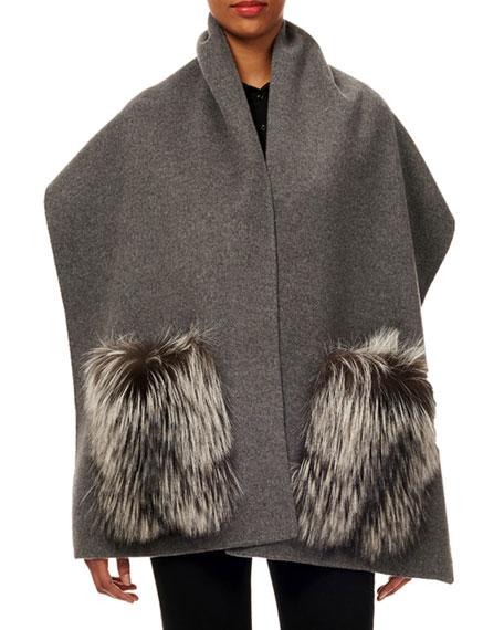 GORSKI Wool Stole W/ Fur Patch Pockets in Gray