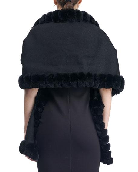 Fur-Trim Wool Stole