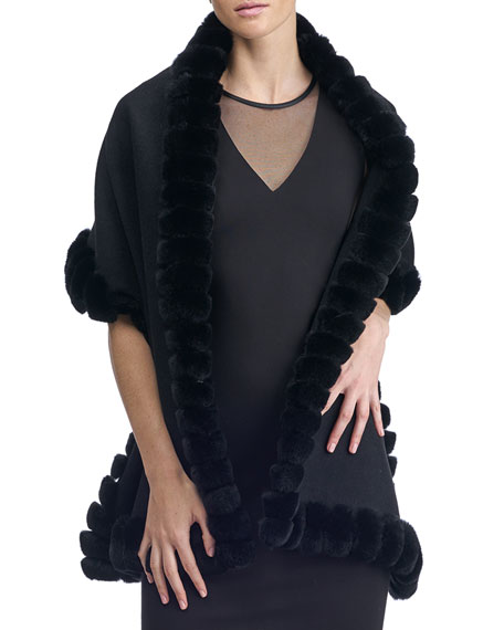 Fur-Trim Wool Stole