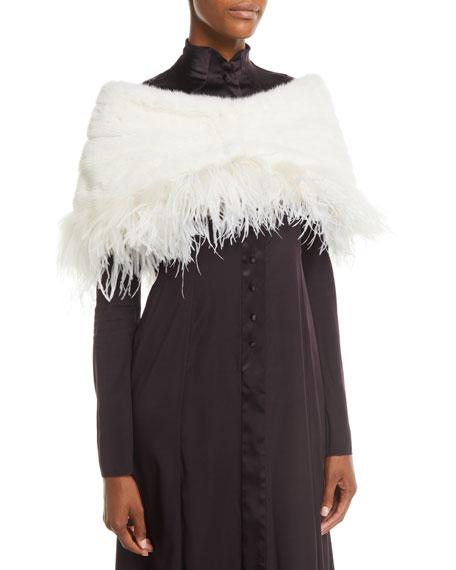 CAROLYN ROWAN Mink-Fur Cape W/ Ostrich Feathers in White