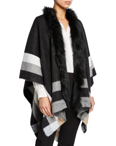 Colorblock Wrap w/ Fur Collar