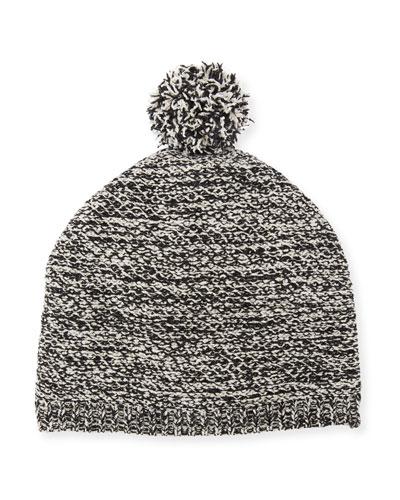 Cotton Chenille Beanie Hat w/ Pompom