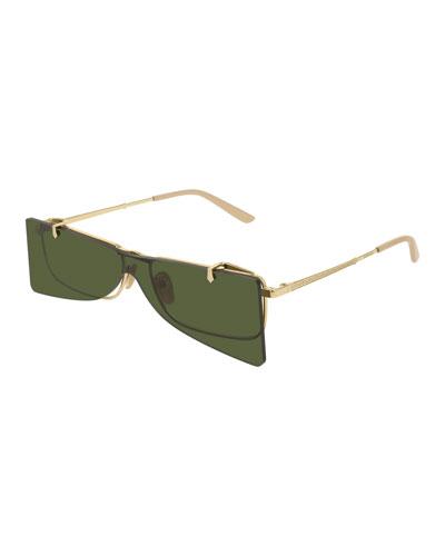 Rectangle Clip-On Metal Sunglasses