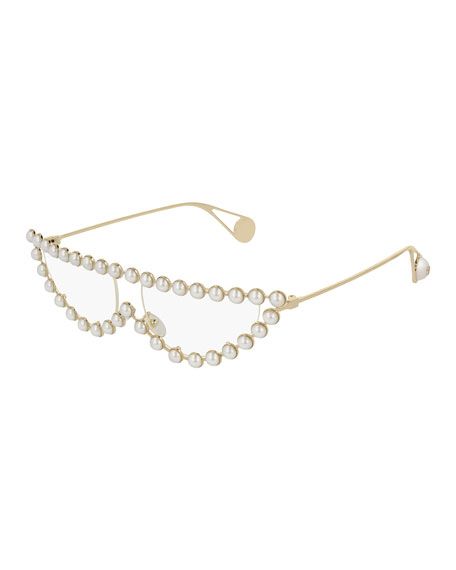 Cat-Eye Metal Glasses W/ Pearly Trim in Gold/Pearls
