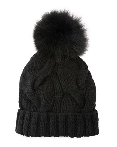 Cashmere Chunky Knit Beanie Hat w/ Fur Pompom