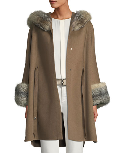 Charton Cashmere Fur-Trim Cape