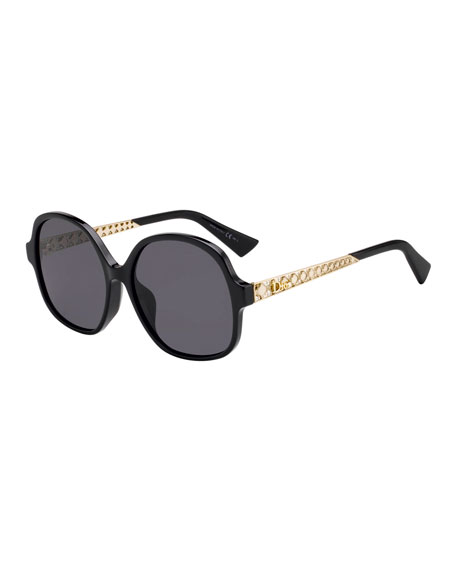 Ama Cannage-Temple Sunglasses Sunglasses in Black
