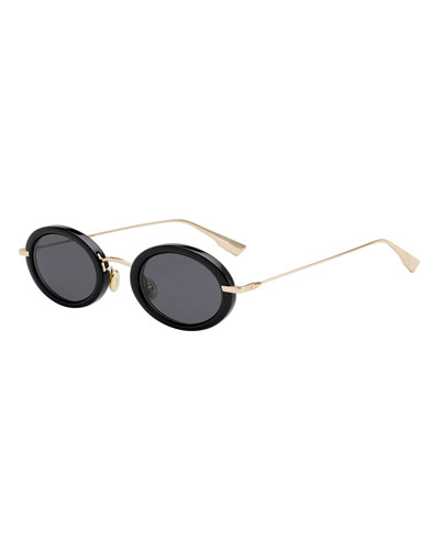Hypnotic2 Oval Acetate & Metal Sunglasses