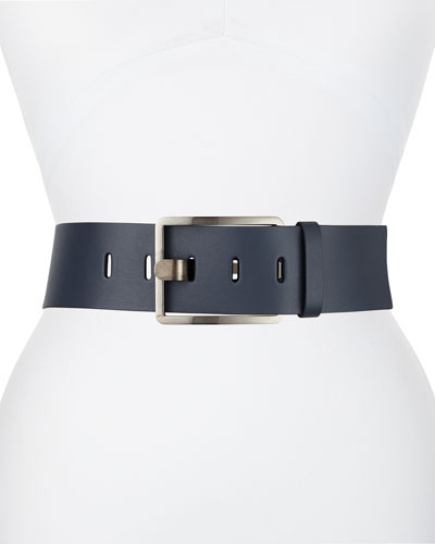 Rectangular-Buckle Wide Leather Belt