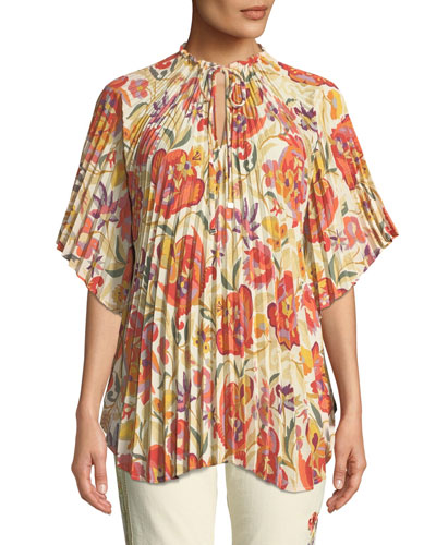 Pleated Floral-Deco Print Poncho