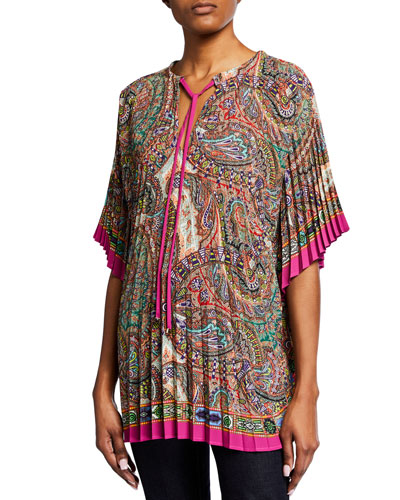 Pleated Paisley-Print Poncho
