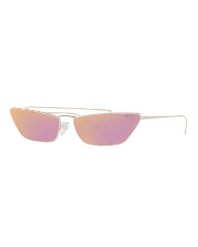 Slim Cat-Eye Mirrored Sunglasses