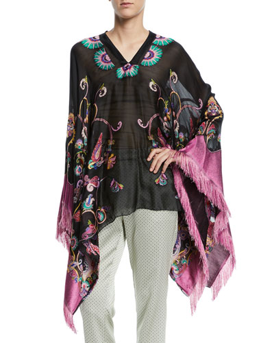 Fringe-Trim Embroidered Silk-Chiffon Poncho