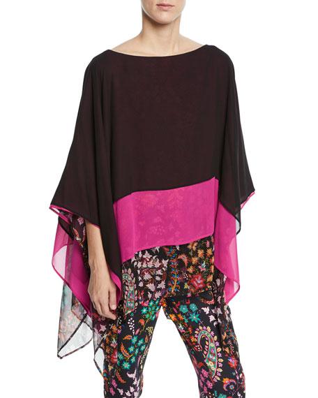 Colorblocked Floral-Hem Silk Poncho in Black