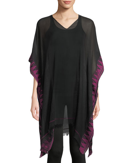 Eileen Fisher Hand-Loomed Sheer Organic Cotton Poncho