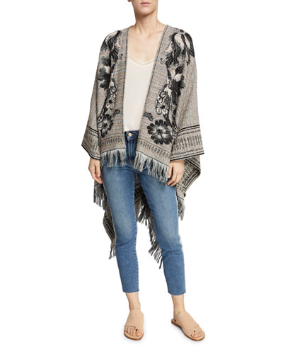 Floral Embroidered Wool-Cotton Tweed Cape