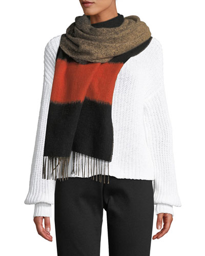 Bold Striped Degrade Wool Scarf