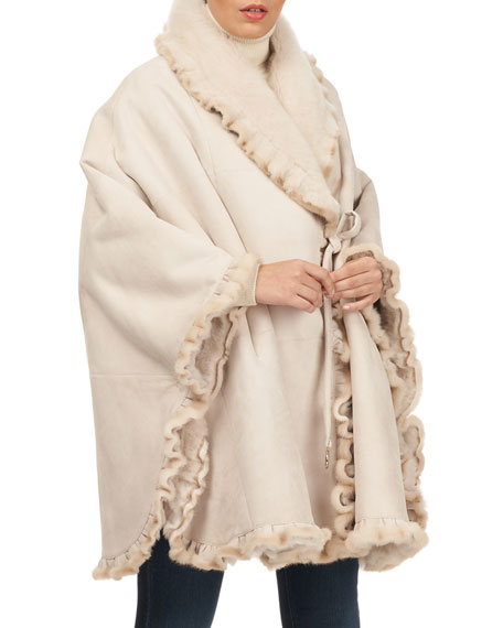 CHRISTIA Shearling Lamb-Fur Cape in Beige