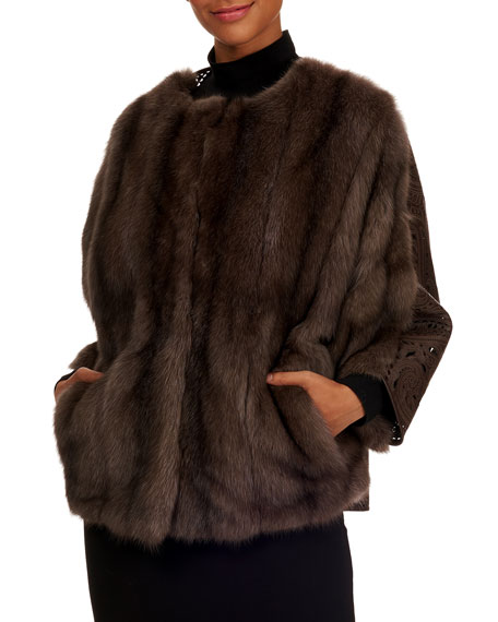 TSOUKAS Russian Sable Fur Cape Coat W/ Leather Detail Back in Brown