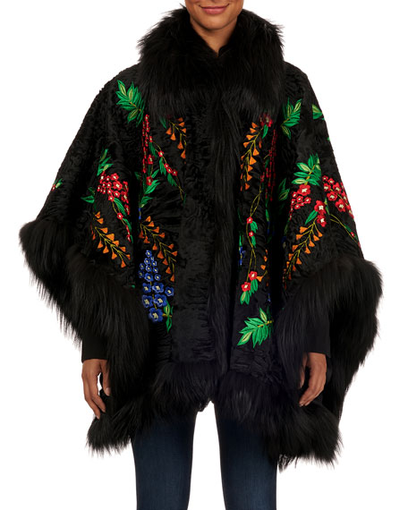 Floral-Embroidered Swakara Cape With Fox Fur Trim in Multi