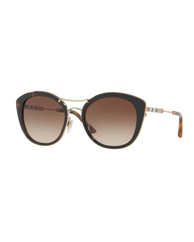 f093531ea6ffb Burberry Round Sunglasses with Metal Trim