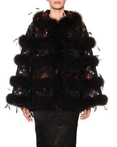 Ostrich-Feather Brocade Cape