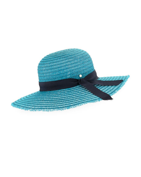 Inverni Iris Two-Tone Sun Hat w/ Hat Band & Bow