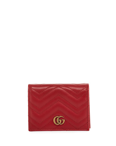 6daf7138df6 Gucci GG Marmont Quilted Leather Flap Card Case from Neiman Marcus ...