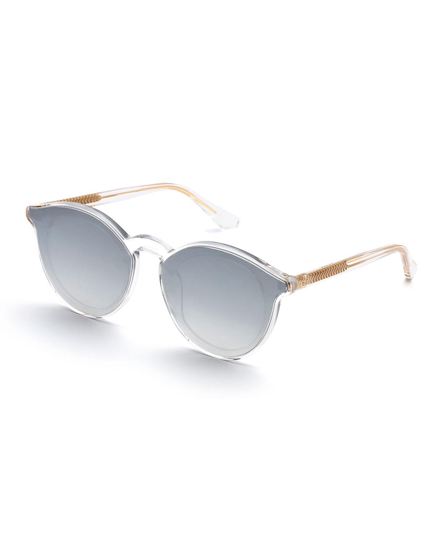 60d0bf6b679 KREWE Collins Round Mirrored Acetate Sunglasses w  Nylon Overlay ...