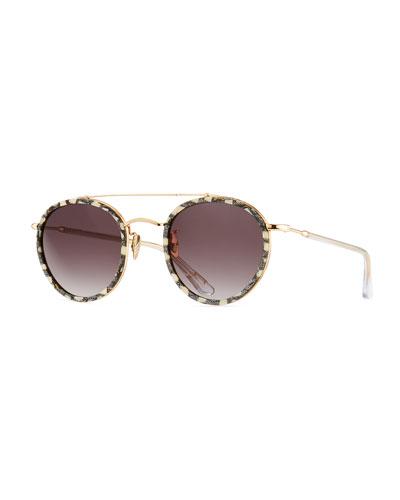 Poydras Round Acetate & Metal Sunglasses