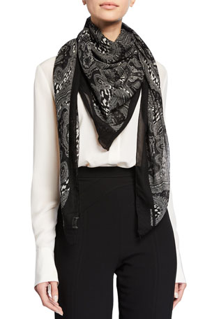 Saint Laurent Grand Paisley & Leopard Wool Scarf