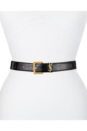 Saint Laurent Golden YSL Monogram Leather Belt