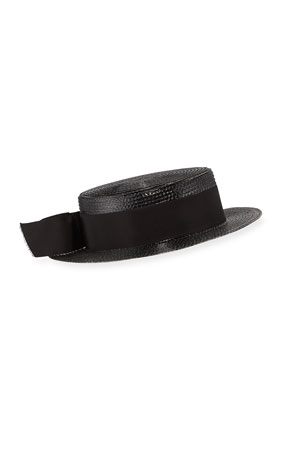 Saint Laurent Lacquered Boater Hat