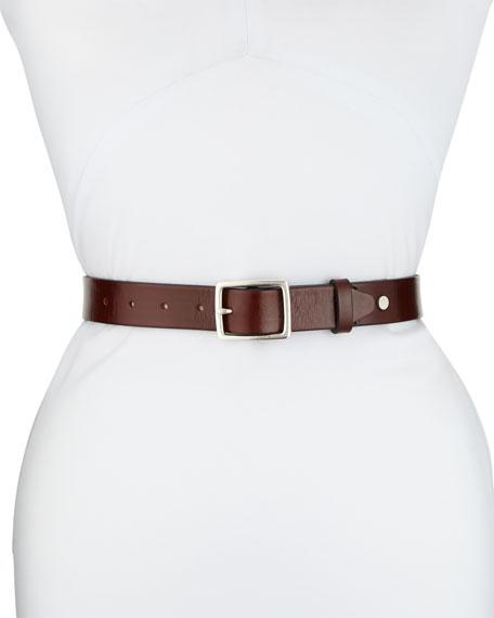 Boyfriend Square-Buckle Leather Belt in Dark Brown