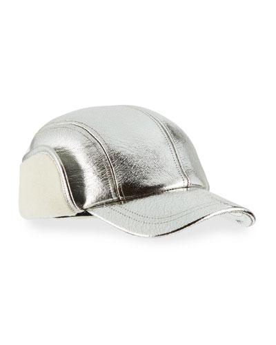 Pilot Metallic Faux-Shearling Cap